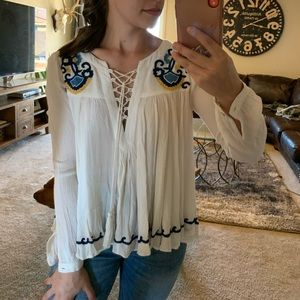 Lovers + Friends Embroidered Blouse